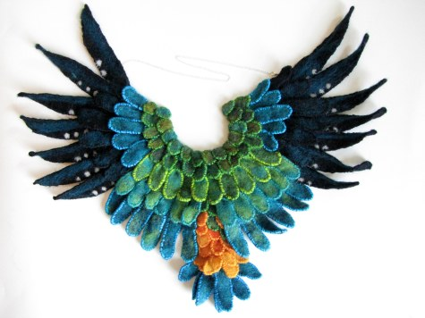 Parrot Pectoral (2013) -- Dyed wool, cotton thread, sterling silver -- 13 x 11 inches -- First Place in Jewelry/Metals in Bowling Green State University Undergraduate Art Exhibition