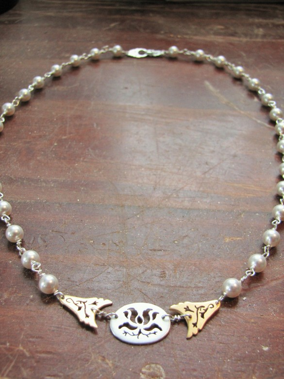 gold and pearl lotus necklace