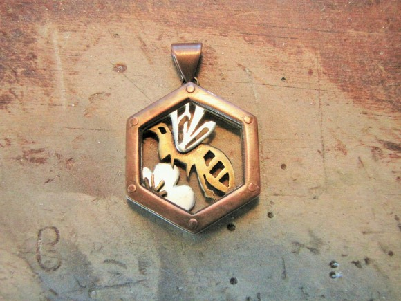 Honey Bee Pendant -- Copper, nugold, sterling silver -- 1 x 1.25 inches