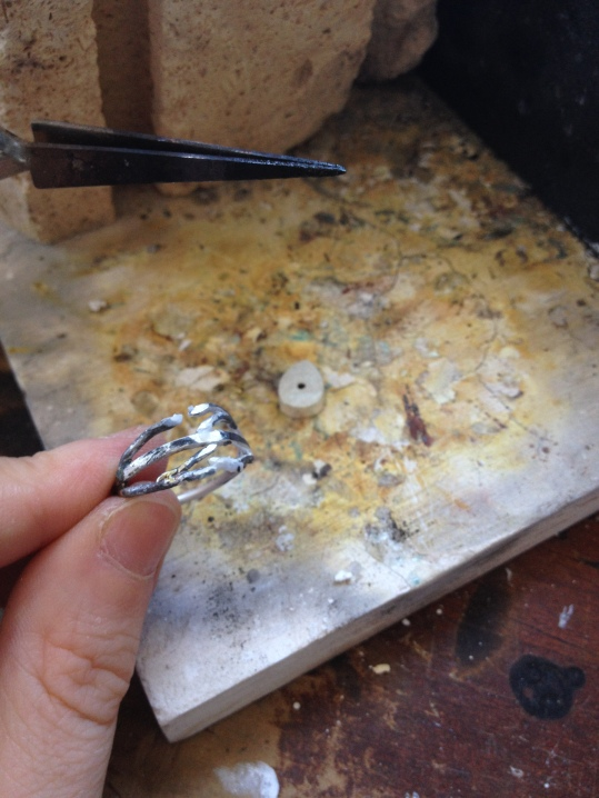 Soldering the bezel setting to the ring