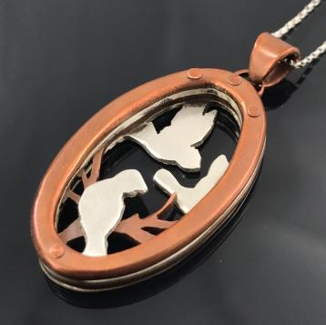 necklace - Oval Birds-1